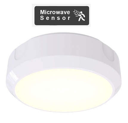 14W LED Circular 1200 Lumen Bulkhead inc Microwave Sensor With 20mm Conduit Entry Base (White or Black)