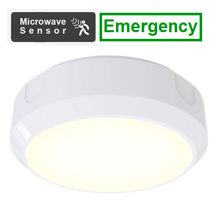 14W LED Circular 1200 Lumen Emergency Bulkhead Inc Microwave Sensor With 20mm Conduit Entry Base (White or Black)