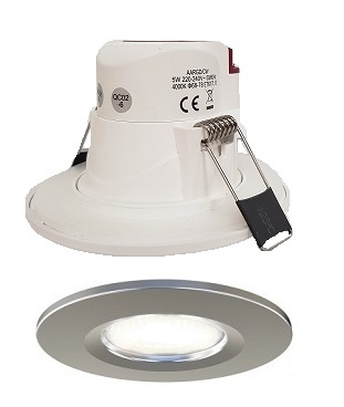 Economy 5w LED Downlight IP65 satin chrome Bezel