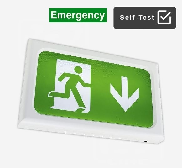 LED Emergency Exit Sign With Self-Test Complete with new regulation legend kit