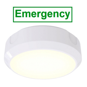 14W LED Circular 1200 Lumen Emergency Bulkhead With 20mm Conduit Entry Base (White or Black)